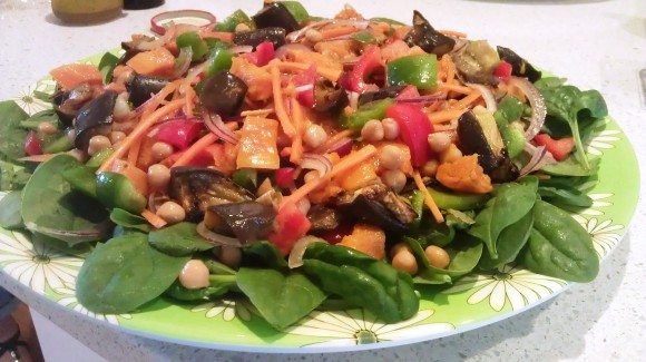 Roasted pumpkin, eggplant and chick pea salad