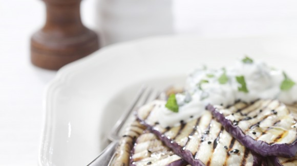 Grilled Eggplants (Aubergines) with Fresh Mint Yoghurt