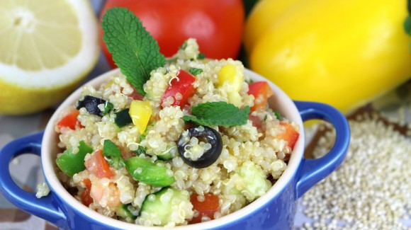 Quinoa salad with capsicum, tomato, cucumber and fresh mint