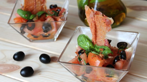 Spanish crispy ham salad with tomatoes and a basil vinaigrette