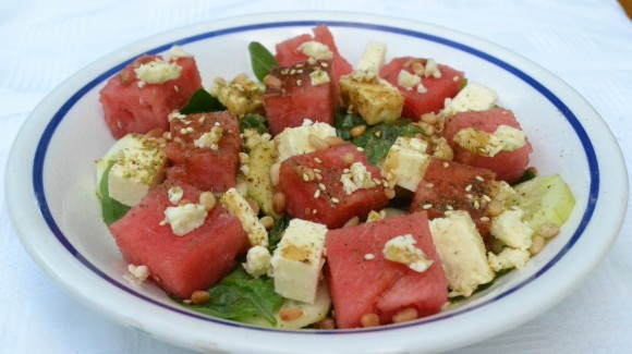 Watermelon and feta salad with zaatar