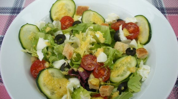 Italian salad with parmesan and cider dressing