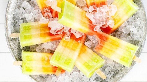 Melon ice-cream popsicles