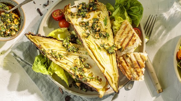 Chargrilled cabbage with Asian pesto
