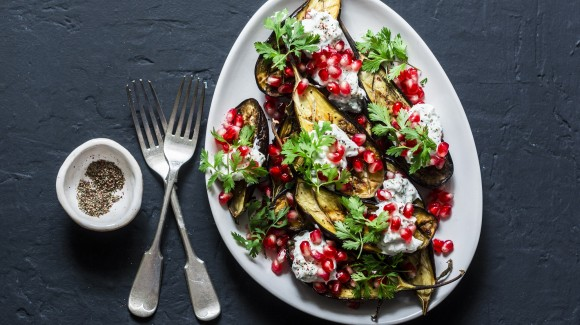 Eggplant salad with pomegranate, mint and tahini lemon dressing