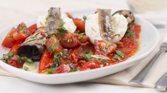 Marinated Sweet pointed pepper with grilled aubergine