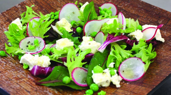 Mixed Leaves, Smashed Pea and Feta Salad