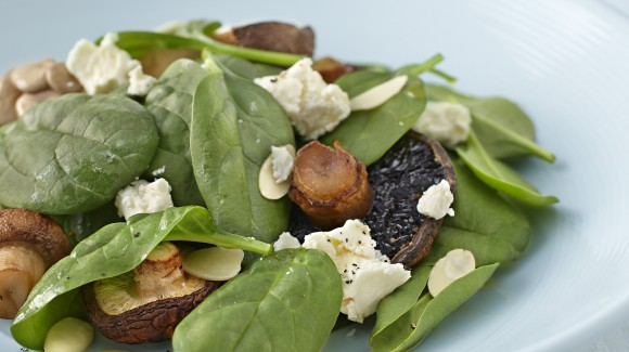 Roasted Mushroom, Marinated Feta and Spinach Salad