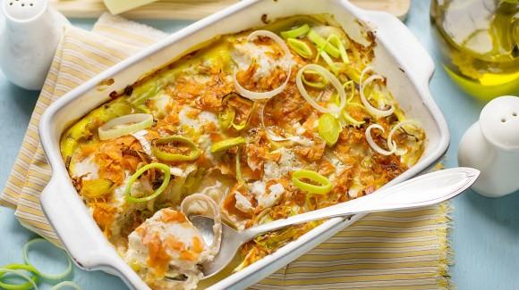 Estofado de puerros con ajo y hojas de laurel