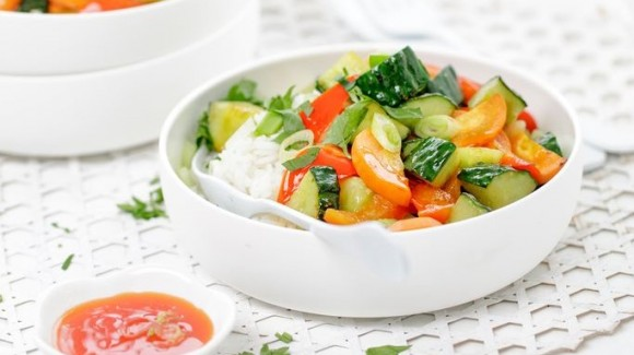 Stir-fried cucumber with vegetables and rice