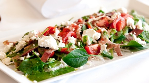 Baby spinach, celeriac and feta salad