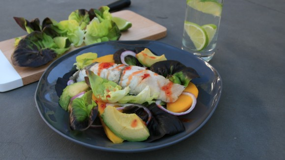 Grilled Blue-eye salad with sweet chilli and lime sauce