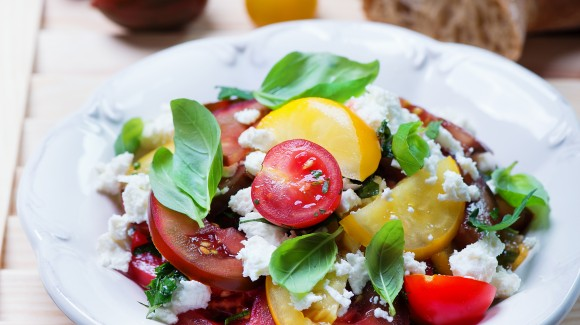 Heirloom tomatoes and goats curd salad