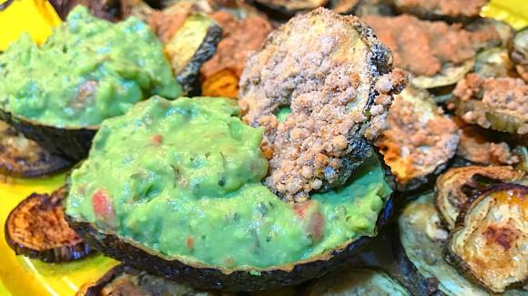 Chips de berenjena con guacamole