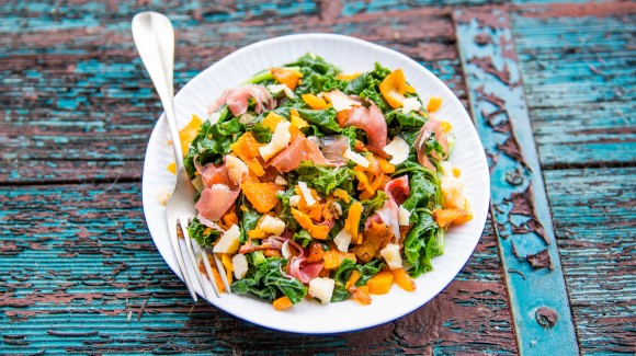 Italian pumpkin salad with kale, parmesan and prosciutto