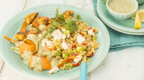 Lentil salad with chicken tikka