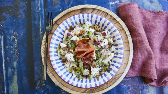 Insalata di riso con melanzana striata, Squacquerone e burrata