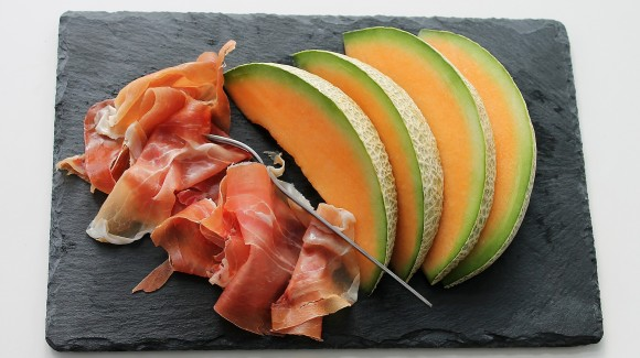 Tropical melon surprise with Jamon (Spanish ham)