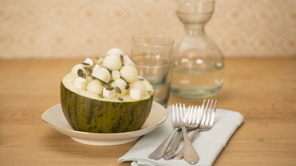 Melon salad with feta and mint