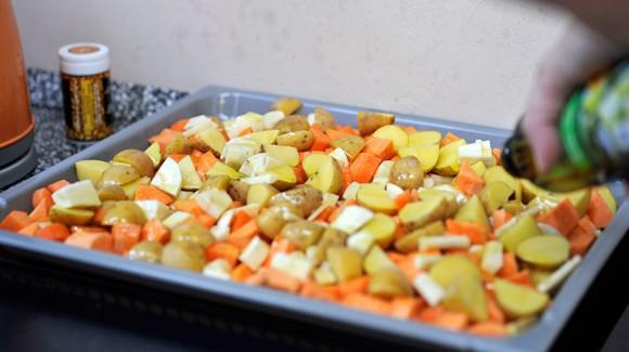 Vegetais grelhados no forno