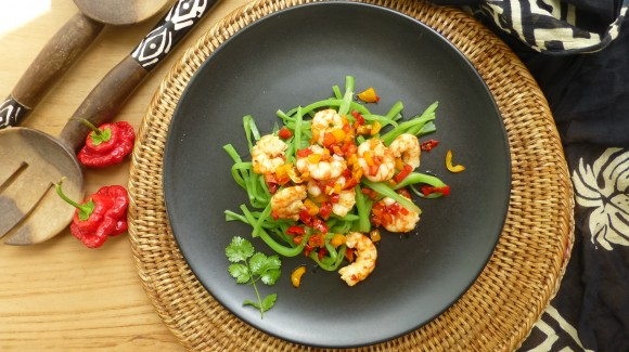 Prawn salad with green beans