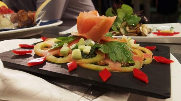 Tagliata di Pomodoro con dadini di Sedano e Pesto leggero