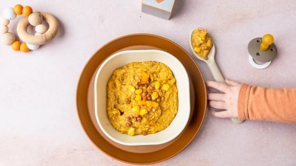 Pompoen-linzen-maispuree (vanaf 6 maanden)