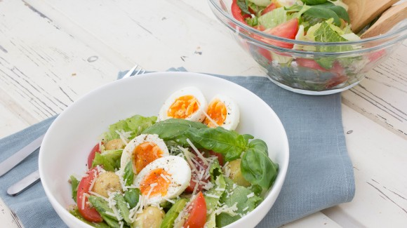 Crunchy cos and potato salad with honey vinaigrette