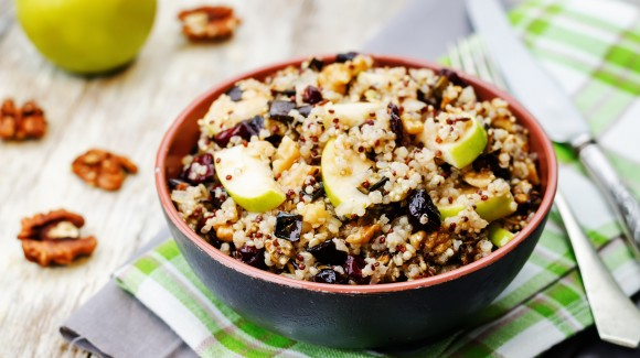 Fresh quinoa salad with apples and Swiss cheese