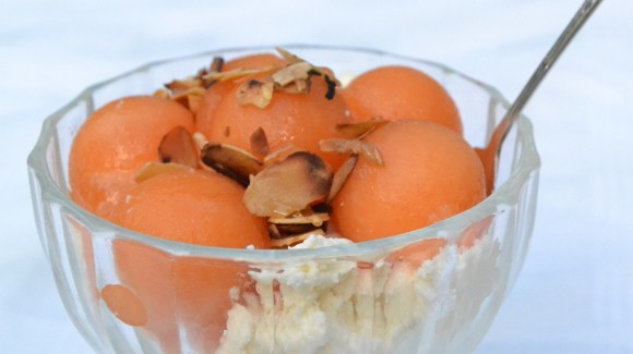 Rockmelon and ricotta parfait