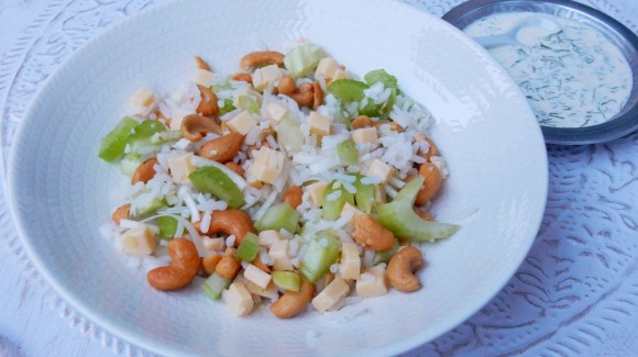 Rice salad with celery and cashew nuts