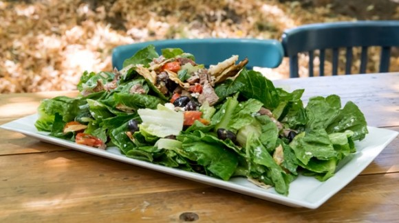 Roast lamb souvlaki salad