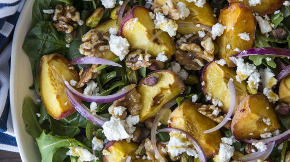 Roast peach, walnut and feta salad