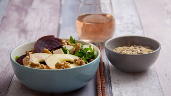 Beetroot and apple salad with lentils, rice and walnuts