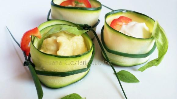 Involtini di zucchini con ripieno di salse ai legumi