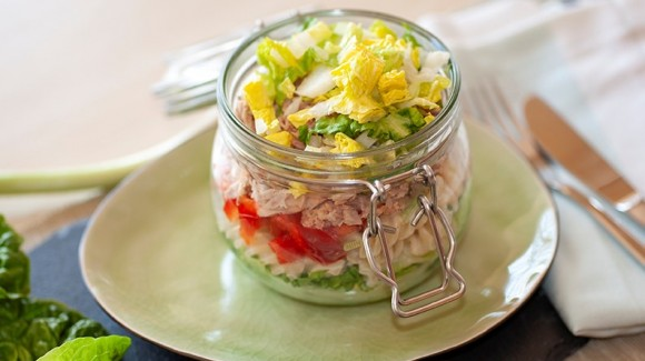Crisp romaine lettuce in a jar