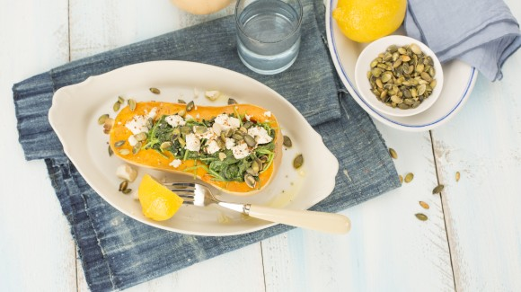 Roasted butternut squash with spinach & feta