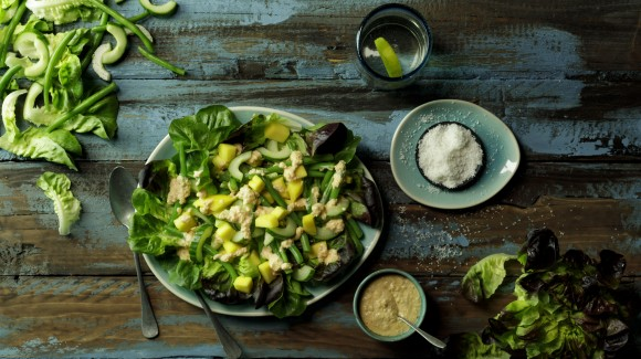 Exotic green salad with cucumber, beans and coconut dressing