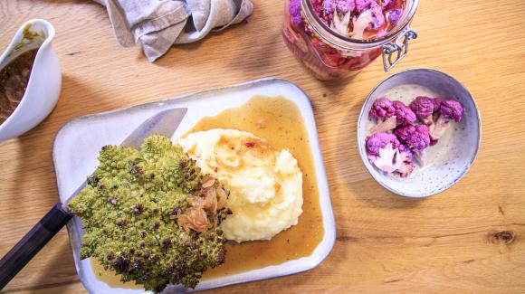 Vegan Sunday Roast with Romanesco, purple cauliflower pickles and fried onion gravy