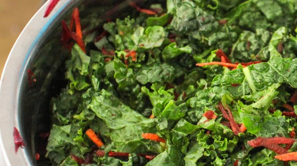 Kale, carrot and beetroot rainbow salad
