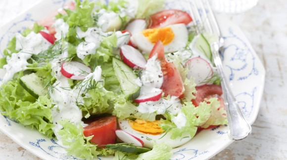 Radish and cucumber salad with a creamy dill dressing