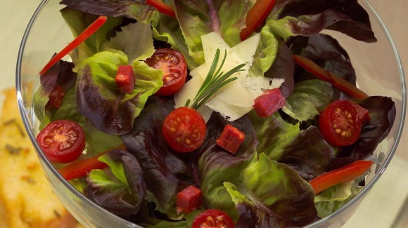 Mediterranian Red Butter Leaf Salad with Chorizo