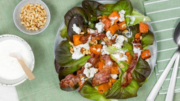 Roasted butternut pumpkin salad with butter lettuce, bacon and goat cheese