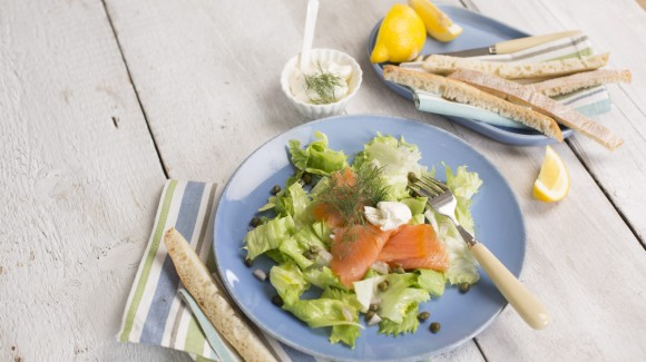 Smoked salmon, endive and caper salad