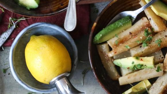 Romige schorseneren met avocado