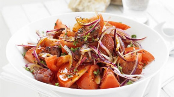 Spanish style chorizo and tomato salad
