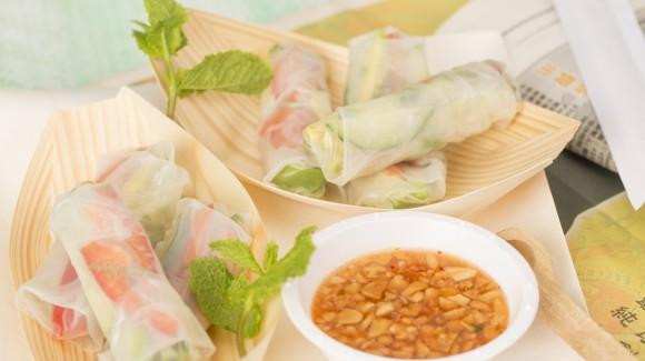 Vegetarische rijstvelloempia's