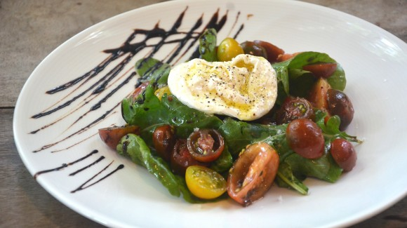Tomato salad with black garlic vinaigrette