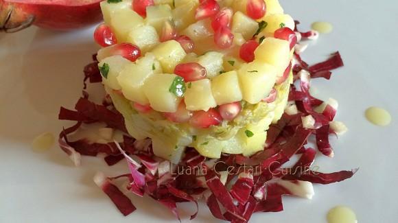 Tortino di patate rosse di Martinengo, endivia, radicchio e melograno