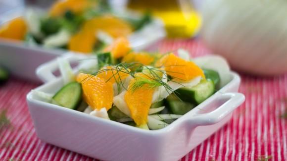 Fenchelsalat mit Orange und Gurke